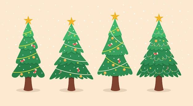 Collection d'illustrations d'arbres de noël décoratifs design plat