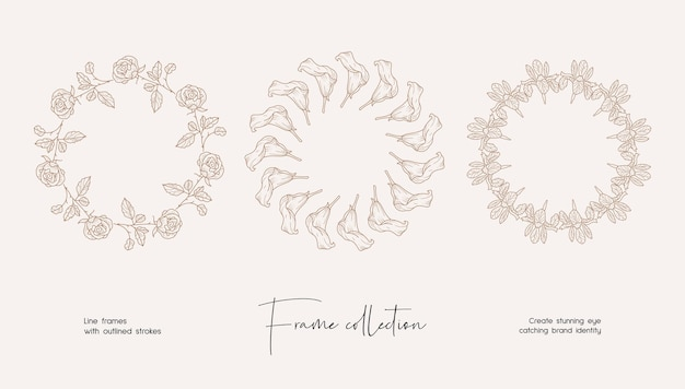 Collection d'illustrations d'art en ligne de cadres vectoriels décoratifs pour la marque ou le logo