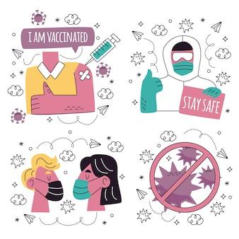 Collection d'illustrations d'autocollants de coronavirus dessinés à la main doodle