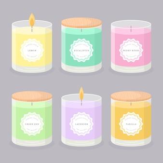 Collection d'illustrations de bougies parfumées dessinés à la main