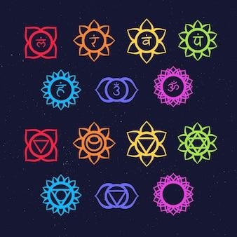 Collection d'illustrations de chakras colorés