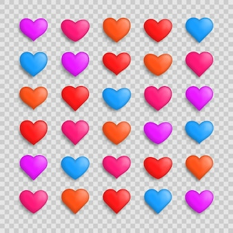 Collection d'illustrations de coeurs. ensemble de coeurs réalistes avec des ombres. jeu d'icônes de symbole d'amour. la saint-valentin.
