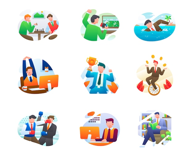 Collection d'illustrations commerciales modernes