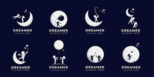 Collection d'illustrations de conception de logo de rêve d'enfant - dreamer logo