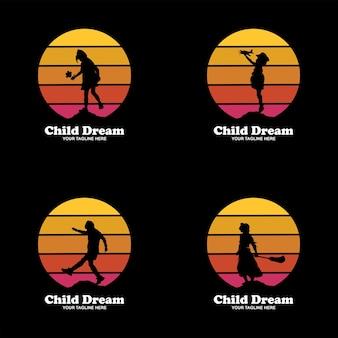 Collection d'illustrations de conception de logo de rêve d'enfant - logo de rêveur