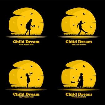 Collection d'illustrations de conception de logo de rêve d'enfant