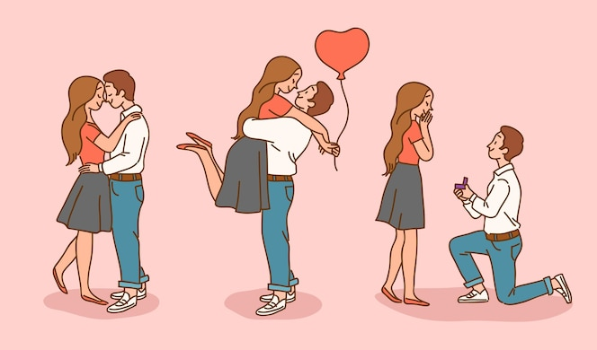 Collection d'illustrations de couple pour la saint-valentin