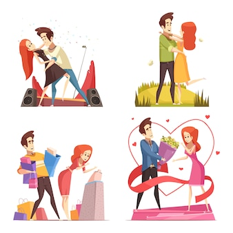 Collection d'illustrations de couples amoureux