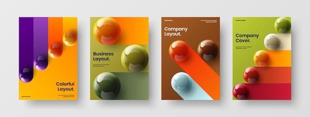 Collection d'illustrations de couverture de journal d'orbes 3d isolés