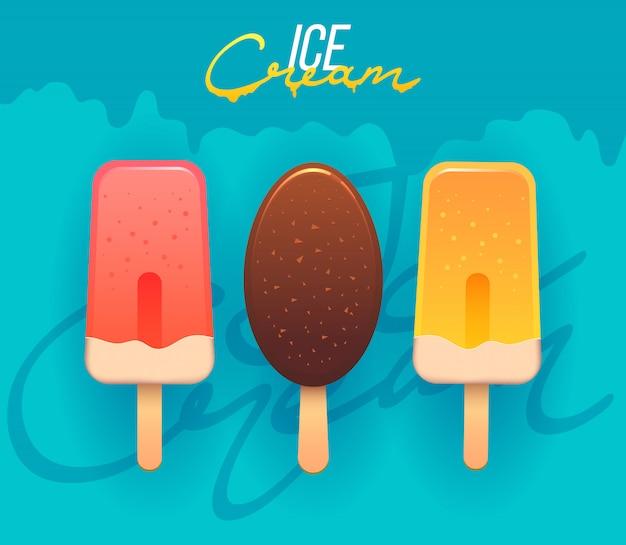 Collection d'illustrations de crème glacée. étiquettes et insignes de logo de magasin de crème glacée