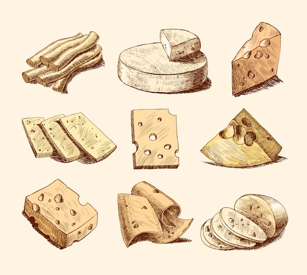 Collection d'illustrations de croquis de fromage