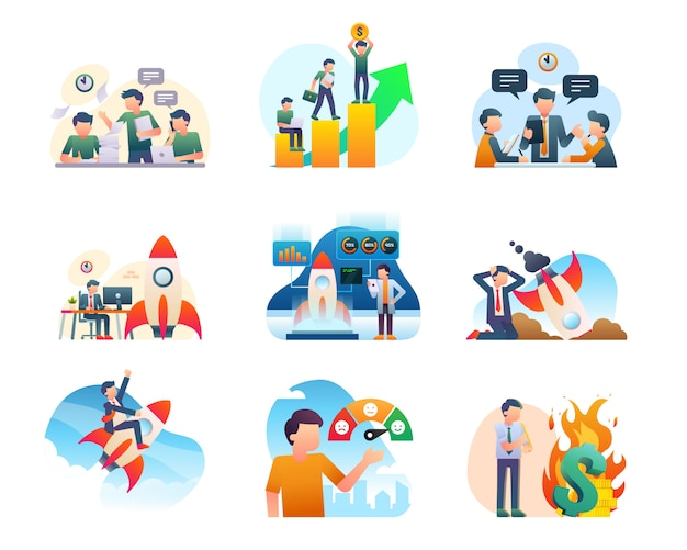 Collection d'illustrations de démarrage moderne