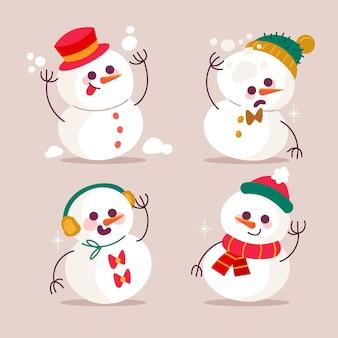 Collection d'illustrations design plat caractère bonhomme de neige