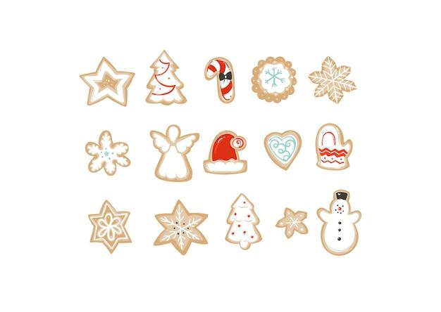 Collection d'illustrations de dessin animé de temps joyeux noël dessinés à la main sertie de cookies