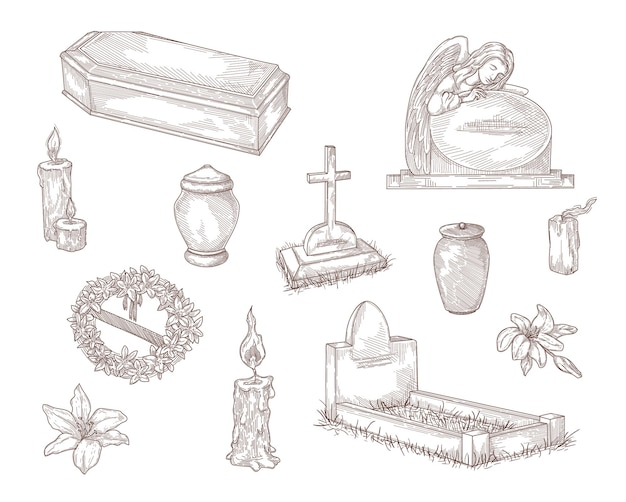 Collection d'illustrations dessinées à la main d'éléments de service funéraire