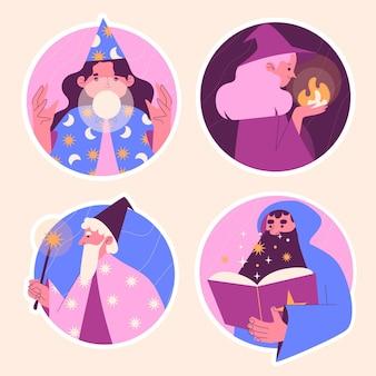 Collection d'illustrations de divers magiciens