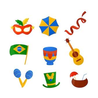 Collection d'illustrations du festival brésilien de carnaval