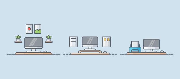 Collection d'illustrations de l'espace de travail