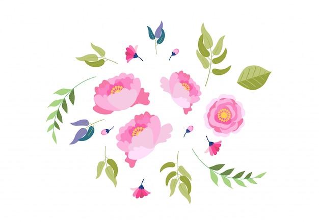 Collection d'illustrations florales aquarelle