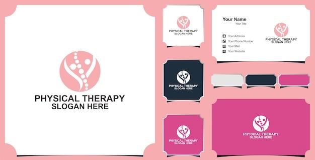 Collection d'illustrations d'icônes vectorielles de logo de thérapie physique et carte de visite