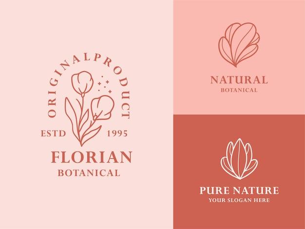Collection d'illustrations de logo botanique floral dessiné à la main pour la marque biologique naturelle de beauté