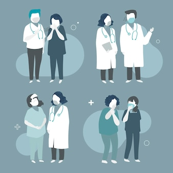 Collection D'illustrations Avec Des Médecins Portant Des Masques Faciaux Vecteur gratuit