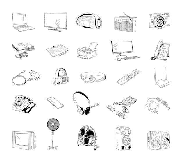 Collection d'illustrations monochromes d'appareils électroménagers en style croquis