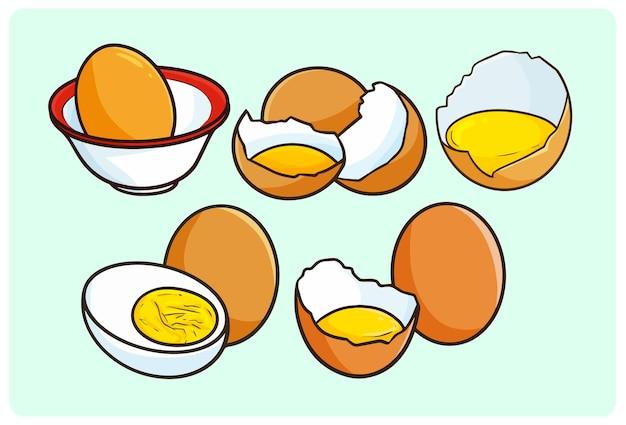 Collection d'illustrations d'oeufs drôles dans un style simple doodle