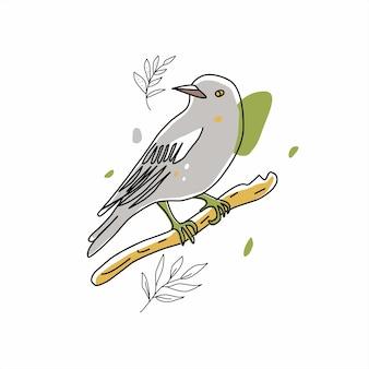 Collection d'illustrations d'oiseaux de style de ligne de griffonnages d'oiseaux dessinés à la main mignon dans le minimalisme sur vecto blanc...