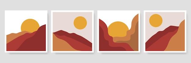 Collection d'illustrations de paysages abstraits. art tendance du milieu du siècle, décoration bohème, art mural.
