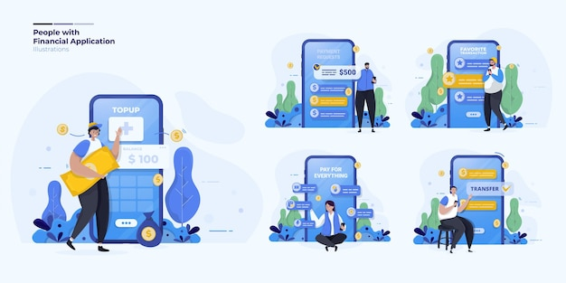 Collection d'illustrations sur les personnes ayant une application de paiement financier