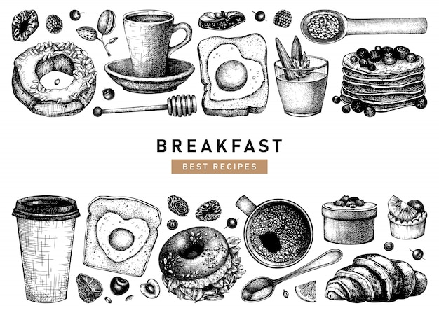 Collection d'illustrations de petit-déjeuner esquissée à la main. modèle de menu de nourriture et de boissons chaudes du matin. fond de plats de petit-déjeuner et brunch. croquis de nourriture dessinés à la main vintage.