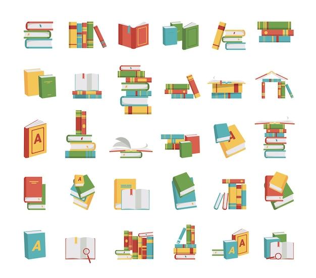 Collection d'illustrations avec des piles de livres.