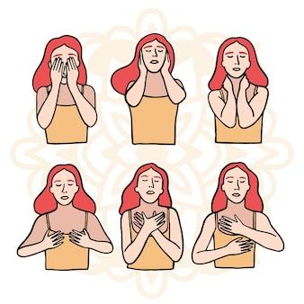 Collection d'illustrations de pose de reiki d'auto-guérison