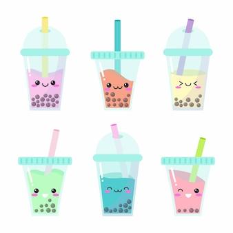 Collection d'illustrations de thé à bulles kawaii