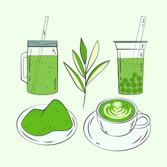 Collection d'illustrations de thé matcha