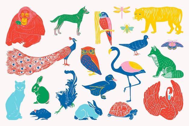 Collection d'illustrations vectorielles d'animaux sauvages vintage