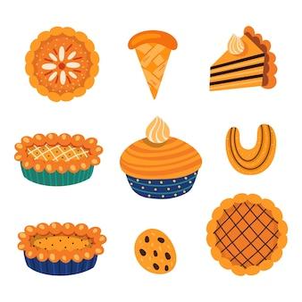 Collection d'illustrations vectorielles de divers types de pâtisserie traditionnelle automnale sucrée avec des feuilles...