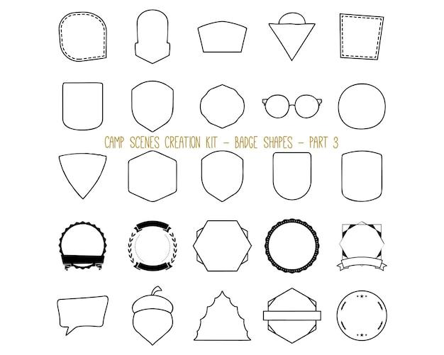Collection d'illustrations vectorielles d'étiquettes de style linéaire et de formes de badges de divers types représentant le concept d'aventure estivale et de camping. partie 3