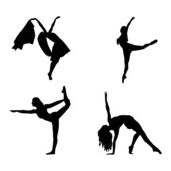 Collection d'illustrations vectorielles silhouette danseuse de ballet