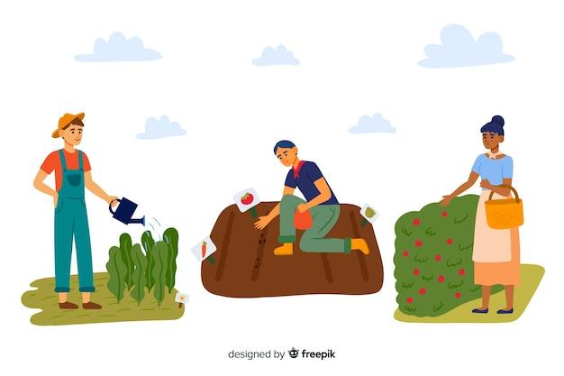 Collection illustrée d'agriculteurs travaillant