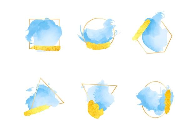 Collection d'images de paillettes avec des coups de pinceau aquarelles