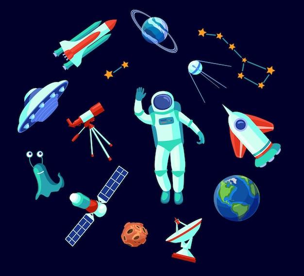 Collection d'images plates d'éléments spatiaux à la mode