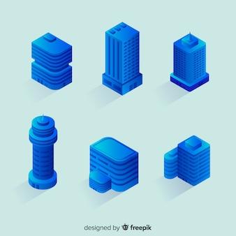 Collection d'immeuble de bureaux bleu isométrique