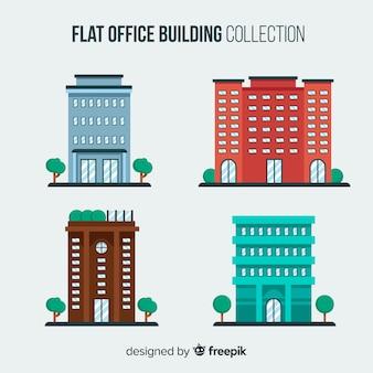Collection d'immeubles de bureaux plats