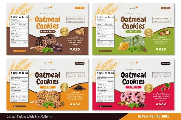 Collection d'impression d'étiquettes de biscuits à l'avoine