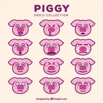 Collection impressionnante de émoticônes de porcs expressifs