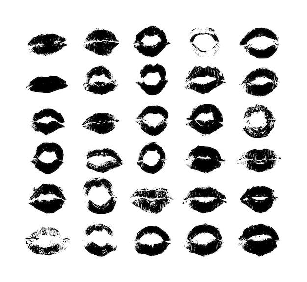 Collection d'impressions de texture de lèvres féminines.