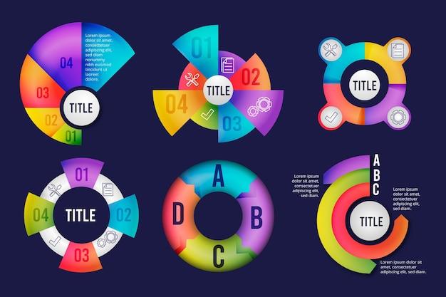Collection d'infographie radiale dégradée