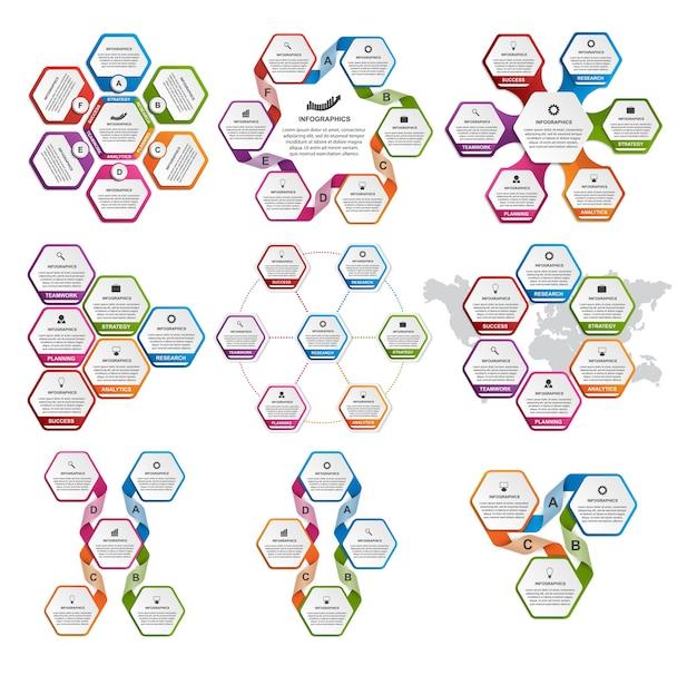 Collection d'infographies colorées de l'hexagone.